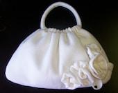 Bag purse handmade ivory repurposed angora