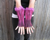 Felted Gloves, Felted Fingerless Gloves, Nuno Felted Cuff, Felted Cuff