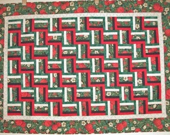 Handmade Quilt Twin or Lap - Red Green Black Beige Rail Fence
