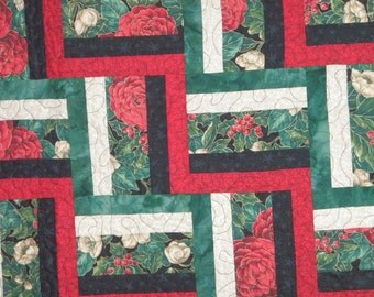 Handmade Quilt Twin or Lap Red Green Black Beige Rail Fence Quiltsy Christmas