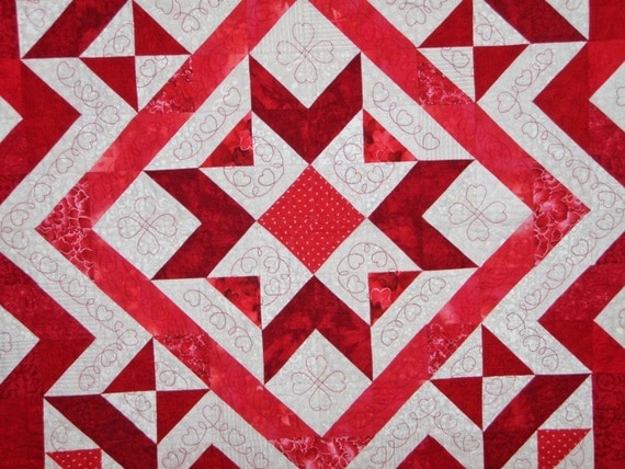 Patchwork Queen Quilt Red White Handmade - Ruby Crystal