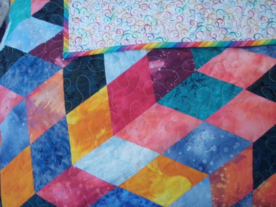 Handmade Patchwork Chevron Baby Quilt in Bright Colors Quiltsy