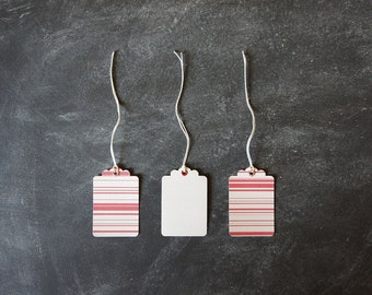 SALE 50% OFF Gift Tags   Christmas Gift Tags   Candy Cane   Red and Light Grey   Multi Stripe Print