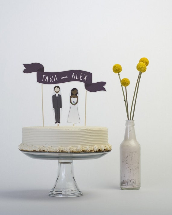 RESERVED - Cake Topper Set - Custom Cake Banner No. 2 / Bride and/or Groom Cake Toppers
