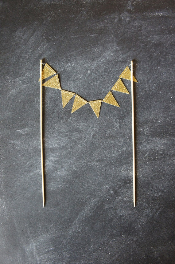 Cake Bunting - Gold Glitter - Wedding Cake Topper