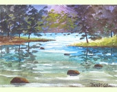 Original Watercolor Painting Creek Tree River Water Blue Stream -  5x7