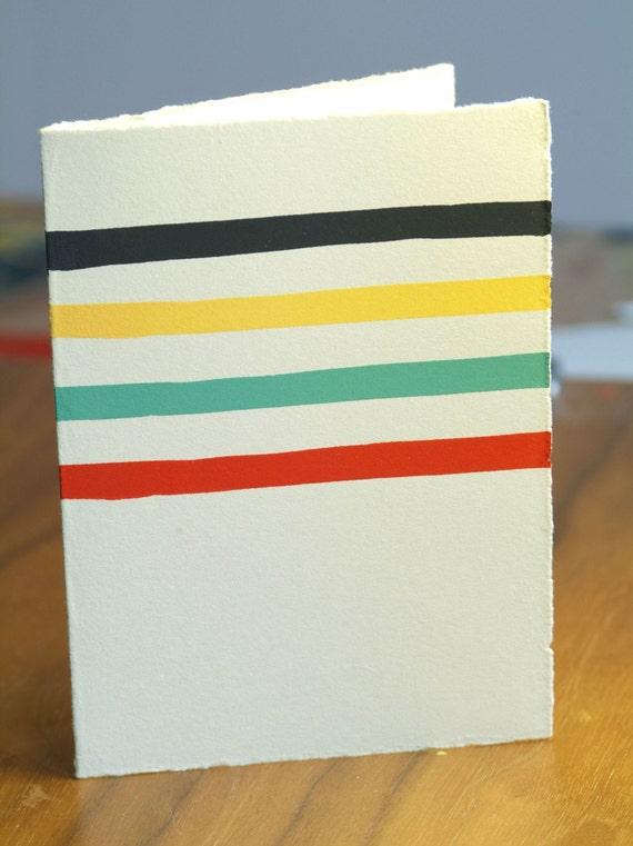 Striped Wool Blanket blank greeting card