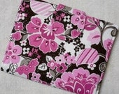 Kindle Cover, eReader Cover Pink and Dark Brown Print with Sparkles