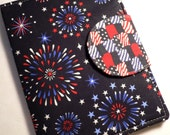 Kindle 3 Cover, eReader Cover Book Style Red , White and Blue Fireworks Kindle 3 ONLY ready to ship)