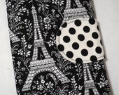Kindle cover, Kindle Fire Cover,  eReader Cover,  Book Style, Eiffel Tower in Black