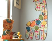 Gloria the Giraffe Fabric Children's Growth Chart For Girls