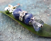 A pair of faceted sodalite earrings . True Blue Love