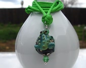Prince The Toad. A handmade Chinese Button Knot and Lampwork Bead necklace