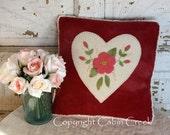 Heart Wool Applique Pillow PATTERN