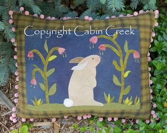 Bunny Rabbit Wool Applique Pillow PATTERN
