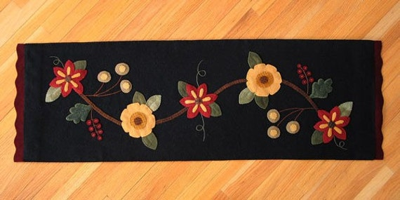 Items Similar To Floral Table Runner Wool Applique Pattern