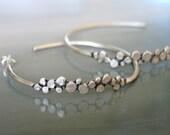 Large Sterling Silver Hoop Earrings...Dots...