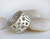 Silver Band Ring with Organic Holes for Men or Woman - mariastudio