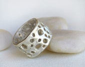 Silver Band Ring with Organic Holes for Men or Woman