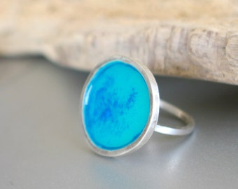 Blue dust in Turquoise sterling silver Ring
