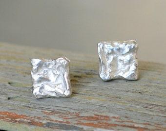Pebble silver Post Earrings, square stud earrings