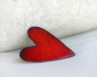 Red Enameled copper Heart pendant