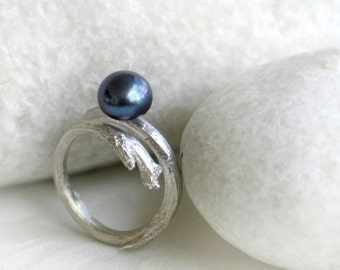 Peacock Pearl Ring, Branch Sterling Silver Ring with Dark Blue Gray Freshwater Pearl 9mm