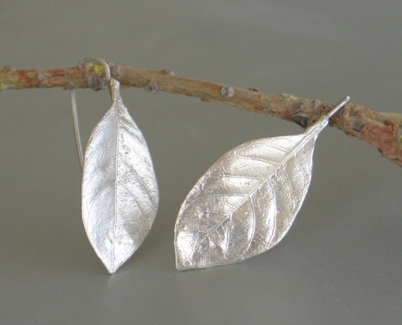 Gardenia leaf sterling silver Earrings