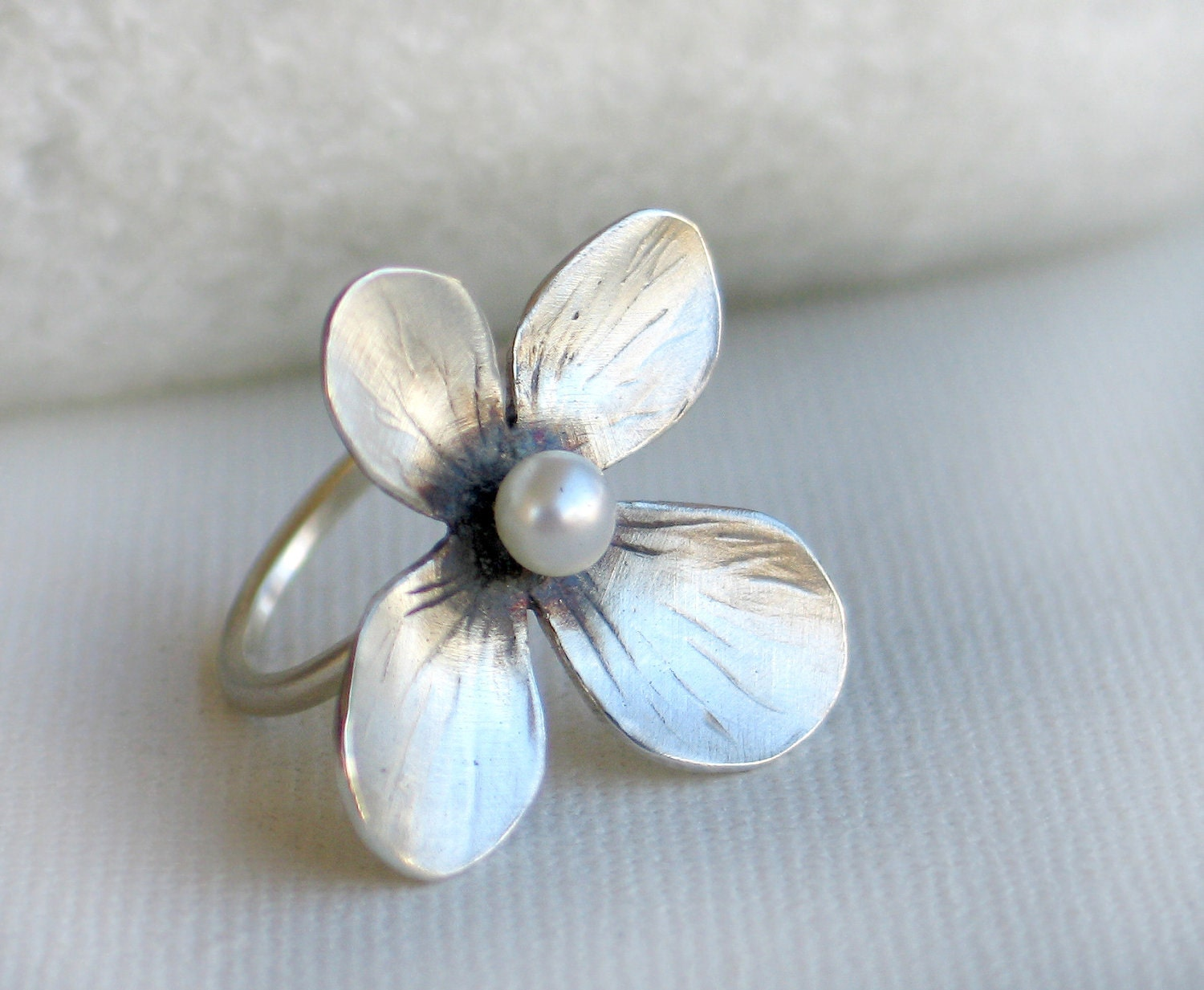 LARGE Pearl Flower Ring in Sterling silver