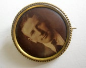 RESERVED for Sweetpeaaguy  - Antique photo brooch, handsome man  - please do not buy unless you're Sweetpeaaguy