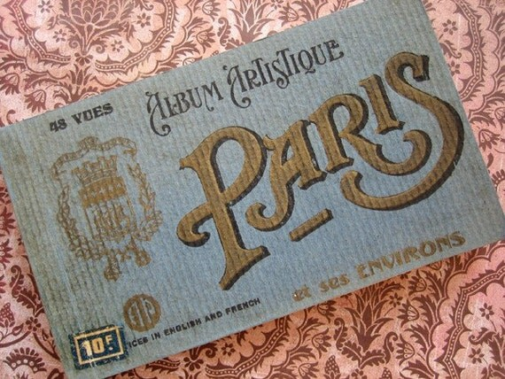 Antique Paris photo postcard book, ca 1900 / 1910
