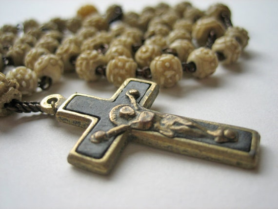 Antique bone rosary, French, 1900s