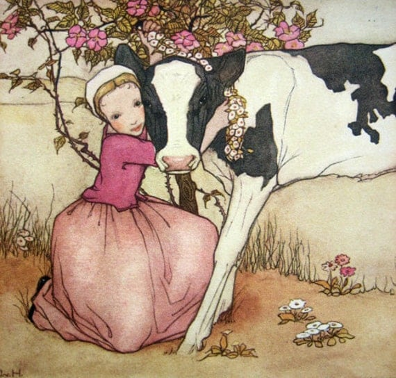 RESERVED for JewelsByDesign -  Antique Art Deco postcard, girl with calf  - please do not buy unless you're JewelsByDesign , thank you.