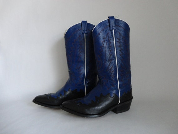 VINTAGE black and blue mens COWBOY BOOTS 10 10.5