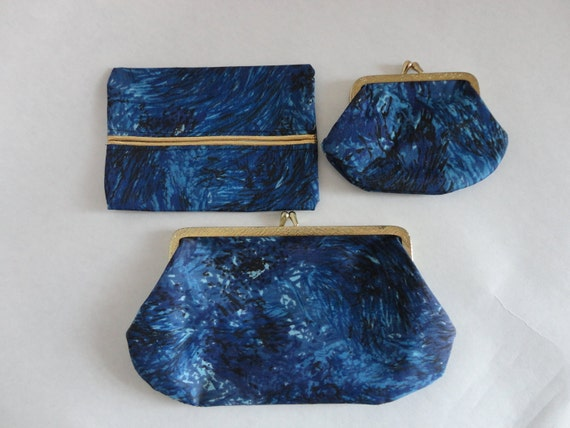 purse accessory...VINTAGE set of 3 blue POUCHES (2 coin style pouches // 1 kleenex pouch)