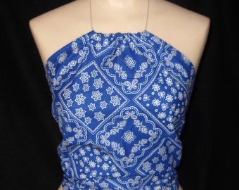 Blue Bandana Halter Top, Women and Teen Sizes 0 to 18