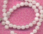 Natural Snow Quartz 16 inches Strand - 8mm round - about 50 beads lot