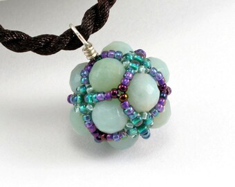 Handcrafted Light Amazonite and Purple Beaded Pendant