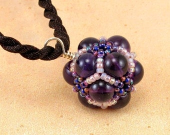PRICE REDUCED 25 PERCENT Handcrafted Dark Amethyst and Peach Beaded Pendant Necklace