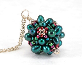 Handcrafted Deep Green Pearl Beaded Pendant