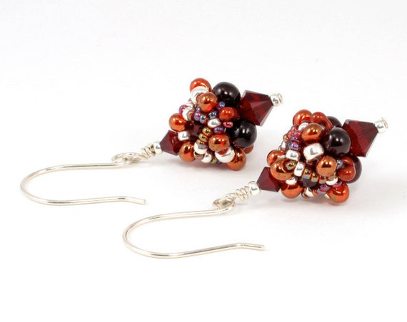 Handcrafted Red and Silver Crystal Earrings