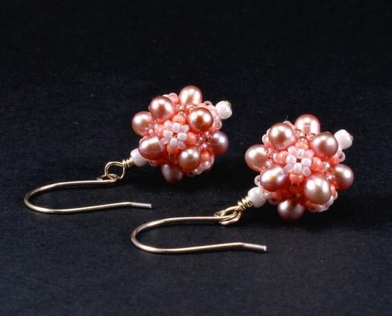 Handcrafted Peach Freshwater Pearl Beaded Earrings