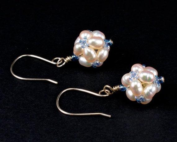 Handcrafted White Freshwater Pearl Beaded Bead Earrings