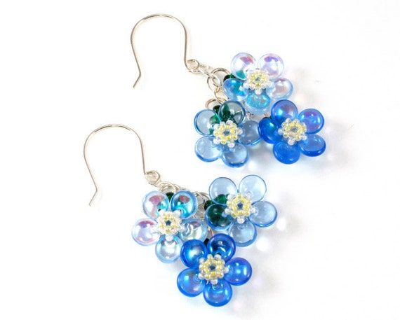 Handcrafted Forget Me Not Beaded Earrings