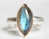 RESERVED for Kassie - Labradorite Ring in Recycled 14k Gold and Sterling Marquise Shape Gemstone