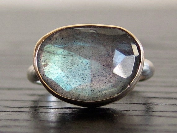 Labradorite Ring in Recycled 14k Gold and Sterling Free Form Rose Cut Gemstone