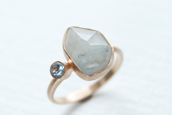 Umba Sapphire, Aquamarine and Recycled 14k Gold Ring