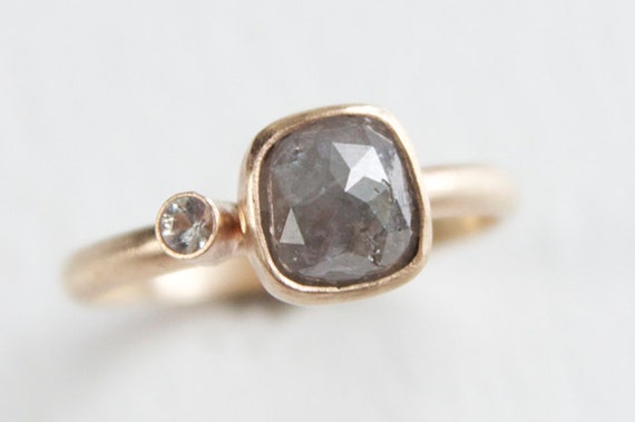 Silver Rose Cut Diamond Ring in 14k gold with White Sapphire accent