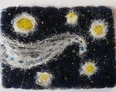 Starry Night Needle Felted Brooch