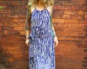 Navy Blue Drop Waist Halter Maxi Dress~Backless Dress~Open Back Dress~Summer Dress~Floor Length Dress~Sexy Dress~Vintage Dress~Retro Dress~